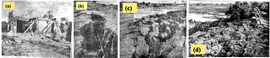 Various damages reported during 1869 Cachar EQ (M-7.8) in Guwahati. (a) House damage in Pan Bazaar; (b) wider ground cracks in the Pan bazaar area; (c) ground subsidence on the bank of River Brahmaputra; (d) Ground Fissures on the bank of river Brahmaputra. (Modified after Oldham 1882).